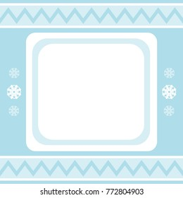 Square winter background with snowflakes. Vector.