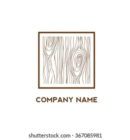 Square with wooden texture,Logo design,Vector illustration