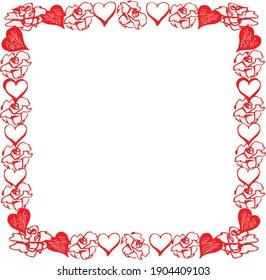 square wreath , rose hart Rea and white colours
