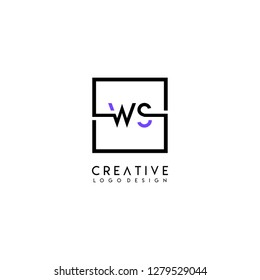 square ws logo letters design concept in purple and black colors