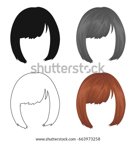 Square Back Hairstyle Single Icon Cartoon Style Stock Vector