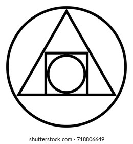 The Squared Circle. Alchemical glyph from seventeenth century. Symbol for the creation of the philosophers stone and the interplay of the four elements of matter. Black and white illustration. Vector.