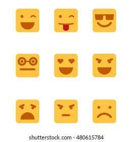 Squared emoticons vector icons set.