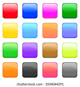 Squared glossy icons set. Vector colorful buttons. Bright design elements.