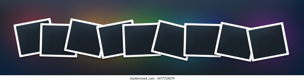 Squared photo frames garland mockup  . Realistic empty foto templates on dark background with  colorful glowing shadow