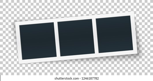 Squared photo template in row rotated, isolated on transparent background. Instant photo trame for social net, documents, fun. Vector editable illustration.