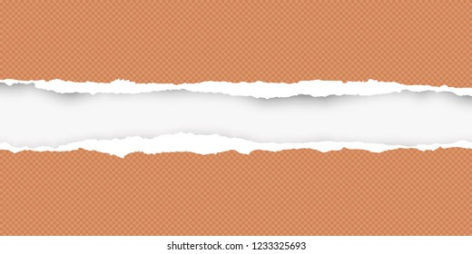 Squared ripped horizontal orange paper for text or message are on white background. Vector illustration