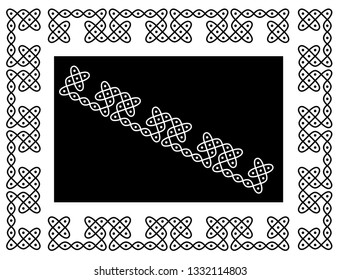 Squares, Circles and Dots - Indian Traditional and Cultural Border Design for Rangoli, Alpona, Kolam or Paisley Vector line art with dark and white background