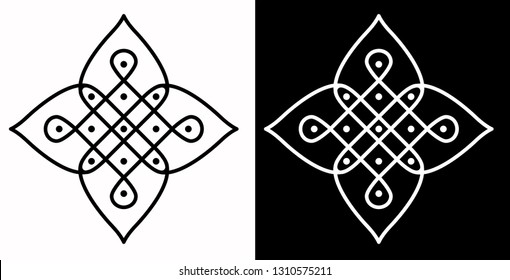 Squares, Circles, Leaf Petals and 5X5 Dots - Indian Traditional and Cultural Rangoli, Alpona, Kolam or Paisley Vector Line art with Dark and White Background