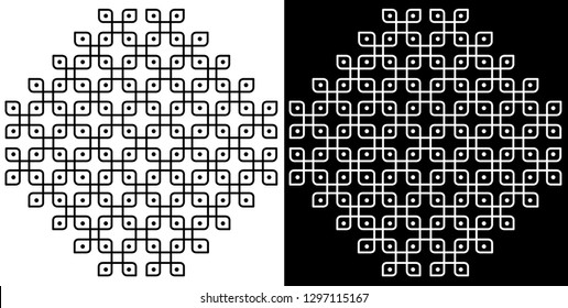 Squares and Dots - Indian Traditional and Cultural Rangoli, Alpona, Kolam or Paisley Vector Line art with Dark and White Background