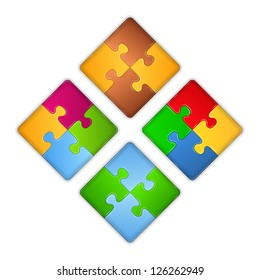 Squares made of puzzle pieces, design elements for your logo, vector eps10 illustration