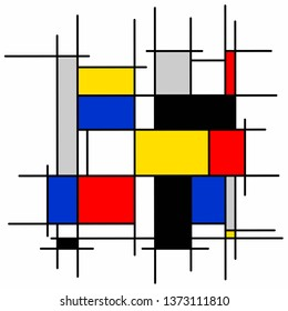 Squares and rectangles of different colors on white background