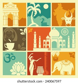 Squares with traditional symbols of India