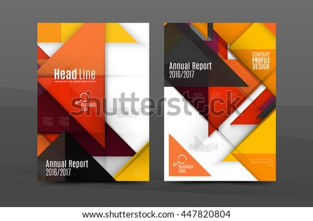 Squares Triangles Annual Report Cover Template Stock Vector Royalty