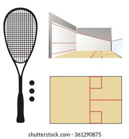 Squash court & racket