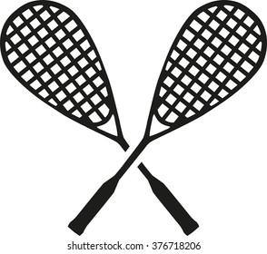Squash crossed rackets