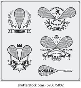 Squash labels, emblems, badges and design elements. Black and white.