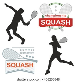 Squash logos, emblems, silhouette. on white background