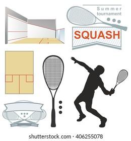 Squash logos, emblems, silhouette. on white background
