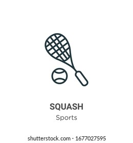 Squash outline vector icon. Thin line black squash icon, flat vector simple element illustration from editable sports concept isolated stroke on white background
