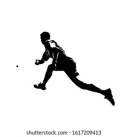 Squash player, isolated vector silhouette. Ink drawing athlete with racket