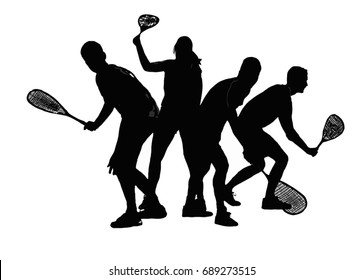 Squash players black on a white background vector