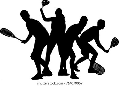 Squash players isolated on a TRANSPARENT background vector
