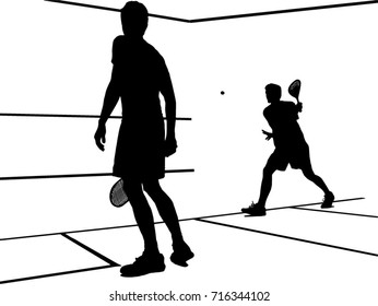Squash players playing a match vector