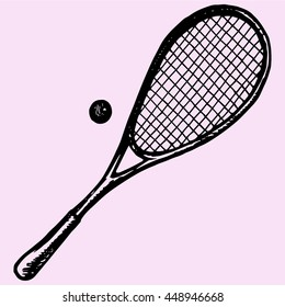 squash racket, ball doodle style sketch illustration hand drawn vector