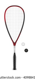 squash or racketball racket and two balls - sport equipment