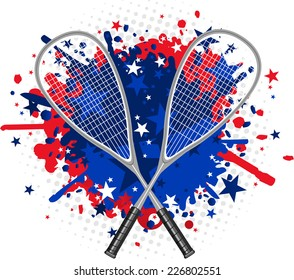 Squash Rackets with red and blue splash vector illustration.