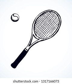Squash stretched circle net racetball league gear set isolated on white background. Freehand outline ink hand drawn picture logo sign sketchy in art retro scribble style pen on paper. Closeup top view