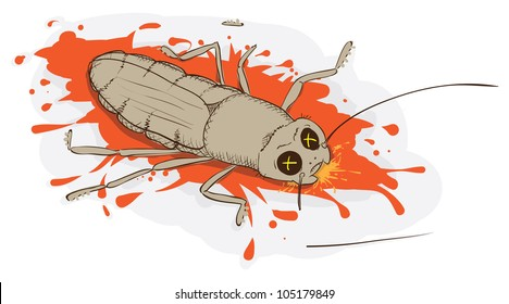 Squashed a cockroach - vector illustration eps8