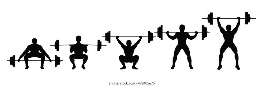 Squat with barbell. Process of squat with heavy barbell. Weightlifting, bodybuilding.