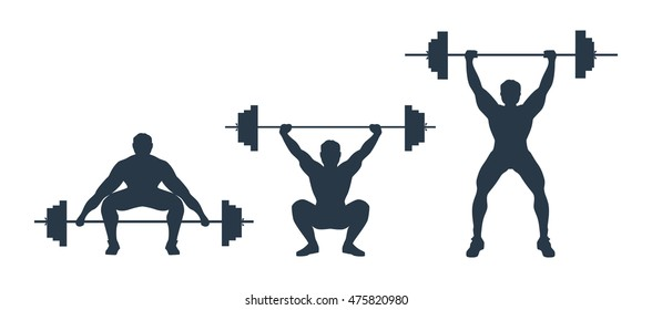 Squat with barbell. Process of squat with heavy barbell. Weightlifting, bodybuilding. 	exercise sequence weightlifting.