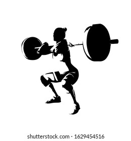 Squats, woman lifts big barbell, isolated vector silhouette. Ink drawing