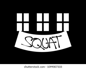 Squatting - Residential building is uccupied by unauthorized squatters and transformed into illegal squat. Anarchist hand-written banner from the window. Vector illustration.