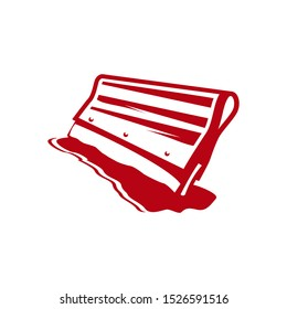 Squeegee screen printing vector icon, red Squeegee logo