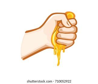 Squeezing orange fruit in Hand