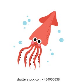 Squid animal cartoon character isolated on white background.