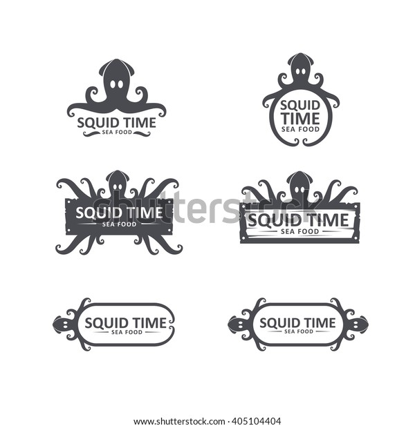 squid icons set squid logo design stock vector royalty free 405104404 https www shutterstock com image vector squid icons set logo design seafood 405104404