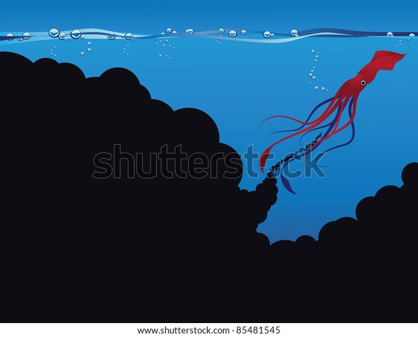 Squid Ink A red squid leaves a cloud of ink with room for your message. EPS 8 vector. Grouped for easy editing.