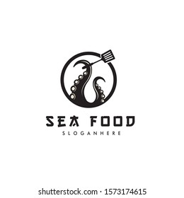 Squid / kraken tentacle  with spoon on circle logo design inspiration for seafood restaurant