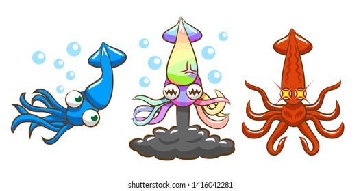 squid vector cartoon clipart graphic design