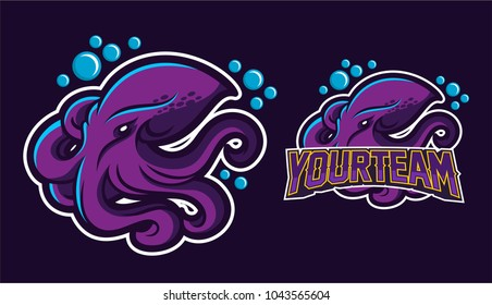 squid/kraken/octopus mascot logo design for sport team