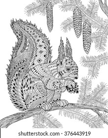 The squirrel for adult anti stress Coloring Page for art therapy, illustration in doodle style. Vector monochrome sketch with geometric pattern isolated on white background.