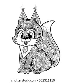 Squirrel Anti Stress Coloring Book For Adults Black And White Hand Drawn Vector