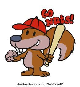 08b041cbb44 Squirrel baseball player cartoon