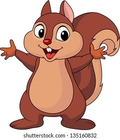 Squirrel cartoon waving