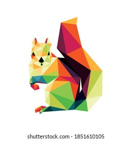 Squirrel in colorful Polygonal low poly. Colorful  Squirrel Vector Icon. Squirrel low poly Logo